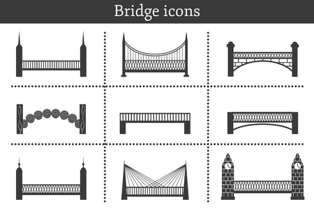 balustrade: Set of icons in flat style on bridges theme. City construcnion and travel concept for your design Illustration
