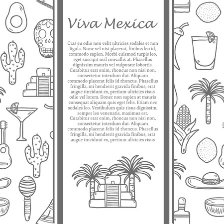 mexico beach: Vector travel mexican concept with hand drawn objects and background on Mexico or Latin America theme: sombrero, poncho, tequila, coctails, taco, skull, guitar, pyramid, avocado, lemon, chilli pepper, cactus, injun hat, palm for your design