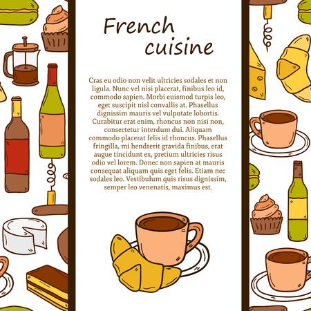 cuisine fran�aise: Vecteur cuisine ethnique ou un concept de Voyage avec des objets dessin�s main de bande dessin�e et de fond sans soudure sur le th�me de la cuisine fran�aise: fromage, vin, macaron, criossant, p�tisserie pour votre conception