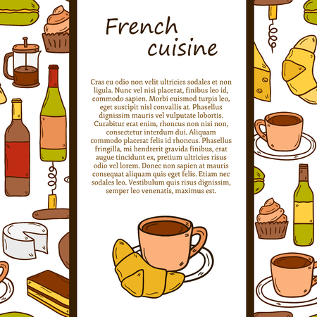 french food: Vector ethnic cuisine or travel concept with cartoon hand drawn objects and seamless background on french food theme: cheese, wine, macaroon, criossant, pastry for your design