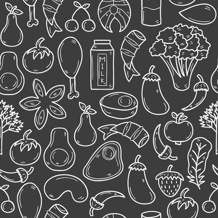 Seamless background with objects in hand drawn outline style on paleo diet theme: meat, fish, fruits, vegetables, spices, nuts. Healthy food concept for your design Illusztráció