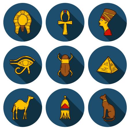 나일 강: Set of cartoon icons in hand drawn style on Egypt theme: pharaon, nefertiti, camel, pyramid, scarab, cat, eye. Africa travel concept for your design