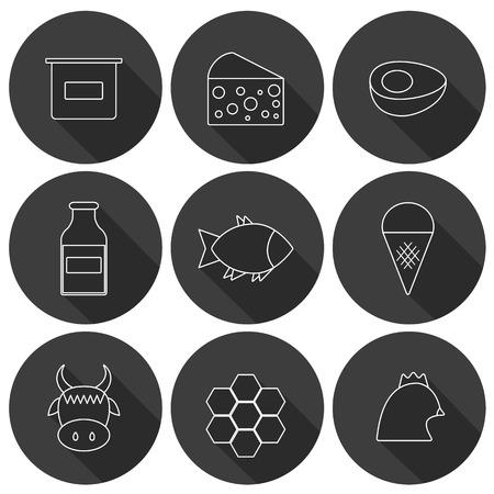 fisch eis: Reihe von modernen Flach Schatten-Icons mit Produkten tierisches Eiwei� enthalten, und f�r Veganer verboten: Milch, K�se, Eier, Joghurt, Fisch, Eis, rotes Fleisch, Honig, Gefl�gelfleisch. Sie k�nnen es f�r Ihre nat�rliche Bio-Bauernhof-Design und tierisches Eiwei� intoleranc verwenden