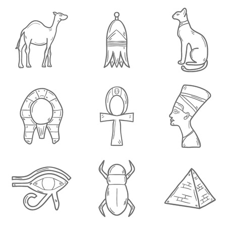 nile: Set of cartoon outline icons in hand drawn style on Egypt theme: pharaon, nefertiti, camel, pyramid, scarab, cat, eye. Africa travel concept for your design Illustration