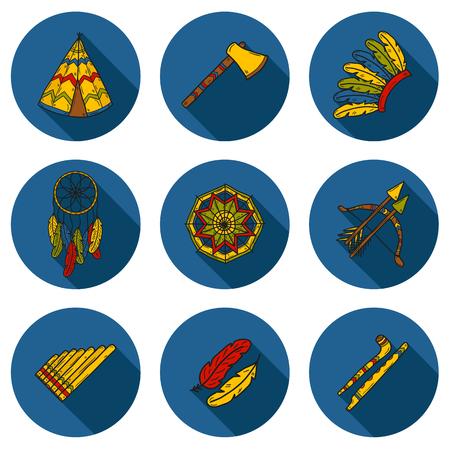 bow arrow: Conjunto de objetos de mano de dibujos animados dibujados sobre el tema injun: hacha de guerra, pluma, canoa, arco, flecha, sombrero, mandala, flauta, tuber�a, atrapasue�os. Concepto de nativo americano para su dise�o Vectores
