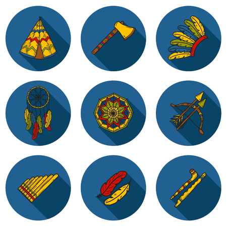 tomahawk: Set of cartoon hand drawn objects on injun theme: tomahawk, feather, canoe, bow, arrow, hat, mandala, flute, pipe, dreamcatcher. Native american concept for your design