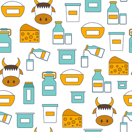 lactose intolerant: Seamless modern background with flat products containing lactose