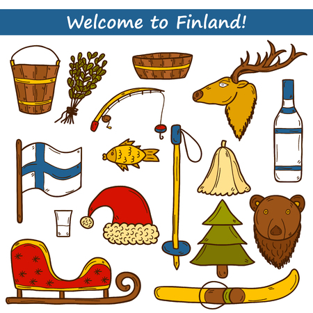 lapland: Set of cartoon hand drawn objects on Finland theme