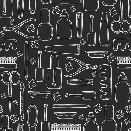 Seamless background with cute hand drawn objects on manicure pedicure theme