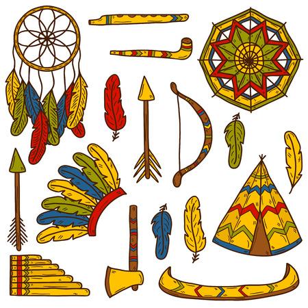 tepee: Set of cartoon hand drawn objects on injun theme