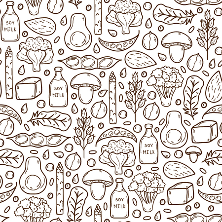Seamless background with cartoon hand drawn objects on vegan protein source theme Vectores