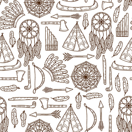 fife: Seamless background with hand drawn objects on injun theme