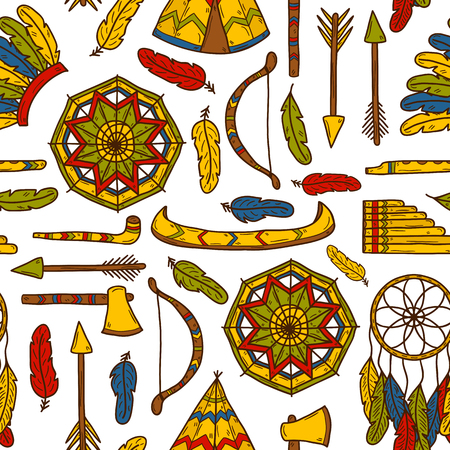 tomahawk: Seamless background with hand drawn objects on injun theme: tomahawk, feather, canoe, bow, arrow, hat, mandala, flute, pipe, dreamcatcher. Native american concept for your design
