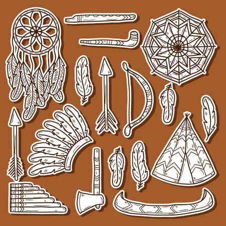 fife: Set of cartoon hand drawn stickers on injun theme