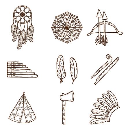 fife: Set of cartoon hand drawn objects on injun theme