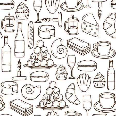 pan y vino: Fondo inconsútil con los objetos dibujados mano linda de la historieta en la cocina francés tema
