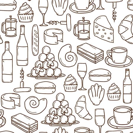 bread and wine: Seamless background with cartoon cute hand drawn objects on french cuisine theme