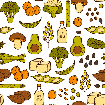 protein source: Seamless background with cartoon hand drawn objects on vegan protein source theme Illustration