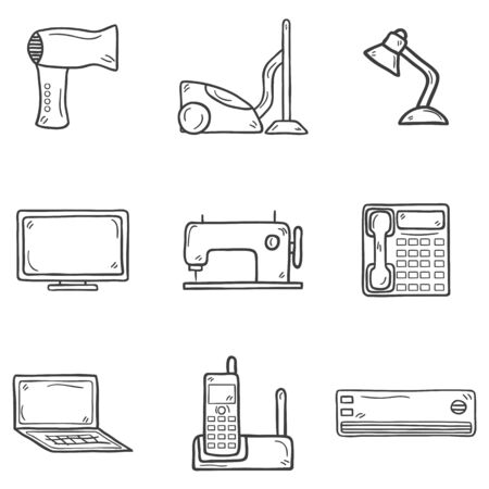 telephone cartoon: Set of cartoon hand drawn objects on home appliance theme: hairdryer, vacuum cleaner, lamp, computer, monitor, telephone, notebook, sewing machine, conditioner, handset. House electronics concept for your design