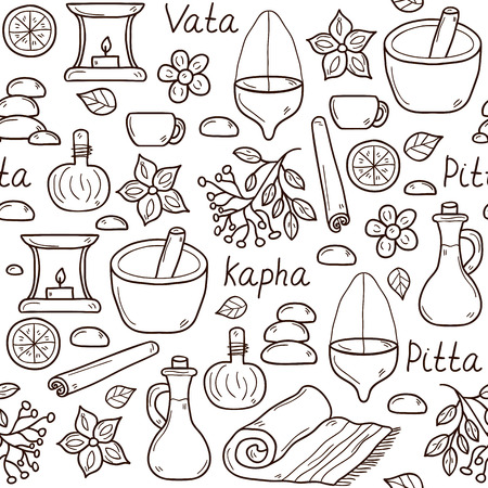 Seamless background with cartoon ayurvedic objects in hand drawn style: herbs, stones, oil, spices, aromatherapy, towel. Auyrveda healthcare and treatment concept for your design