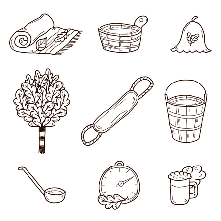 steam bath: Set of hand drawn sauna icons: broom, towel, hat, wisp, beer, steam. Relaxation, health care or treatment concept for your design