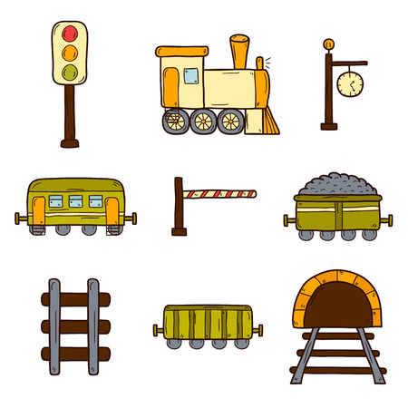 railroad crossing: Set of hand drawn railroad icons: wagons, semaphore, railway station clock, locomotive, barrier, tunnel. Transport shipping delivery or travel concept for your design