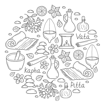 Set of cartoon ayurvedic hand drawn objects for background in circle shape: herbs, stones, oil, spices, aromatherapy, towel. Auyrveda healthcare and treatment concept for your design