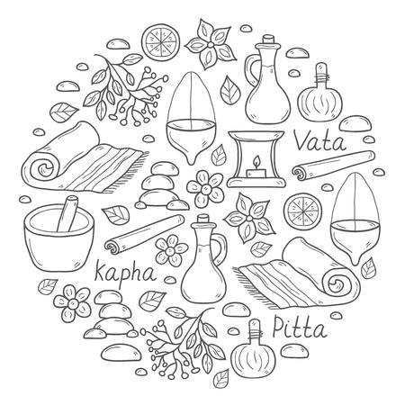 Insieme di oggetti cartone animato a mano ayurvedico disegnato per lo sfondo in forma del cerchio: le erbe, pietre, olio, spezie, aromaterapia, asciugamano. Auyrveda sanitaria e concetto di trattamento per la progettazione Vettoriali