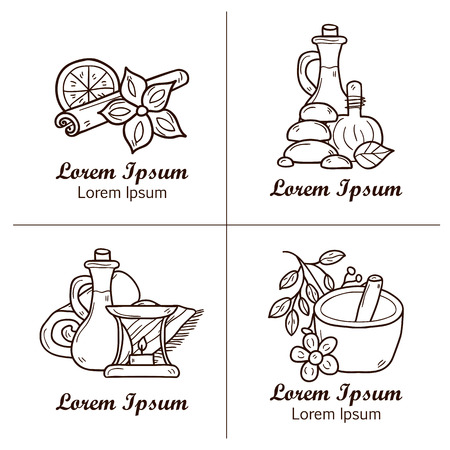 aromatherapy oil: Set of cartoon ayurvedic badges in hand drawn style: herbs, stones, oil, spices, aromatherapy, towel. Auyrveda healthcare and treatment concept for your design