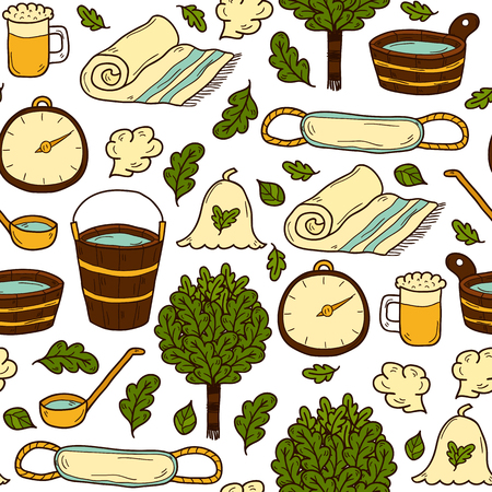steam bath: Vector seamless background with cartoon hand drawn sauna objects: broom, towel, hat, wisp, beer, steam. Relaxation, health care or treatment concept for your design Illustration