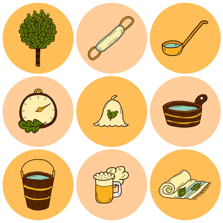 sauna: Set of hand drawn sauna icons: broom, towel, hat, wisp, beer, steam. Relaxation, health care or treatment concept for your design