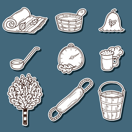 finnish bath: Set of hand drawn sauna stickers: broom, towel, hat, wisp, beer, steam. Relaxation, health care or treatment concept for your design