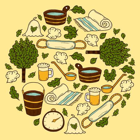 egészségügyi ellátás: Vector background in circle shape with cartoon hand drawn sauna objects: broom, towel, hat, wisp, beer, steam. Relaxation, health care or treatment concept for your design Illusztráció