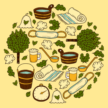 wisp: Vector background in circle shape with cartoon hand drawn sauna objects: broom, towel, hat, wisp, beer, steam. Relaxation, health care or treatment concept for your design Illustration