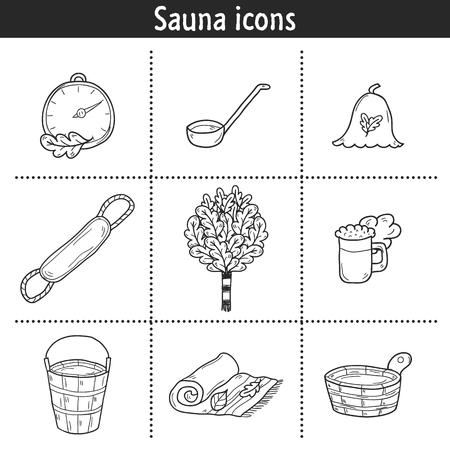 egészségügyi ellátás: Set of hand drawn sauna icons: broom, towel, hat, wisp, beer, steam. Relaxation, health care or treatment concept for your design