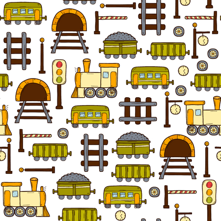 wagons: Vector seamless background with hand drawn railroad objects: wagons, semaphore, railway station clock, locomotive, barrier, tunnel. Transport shipping delivery or travel concept for your design