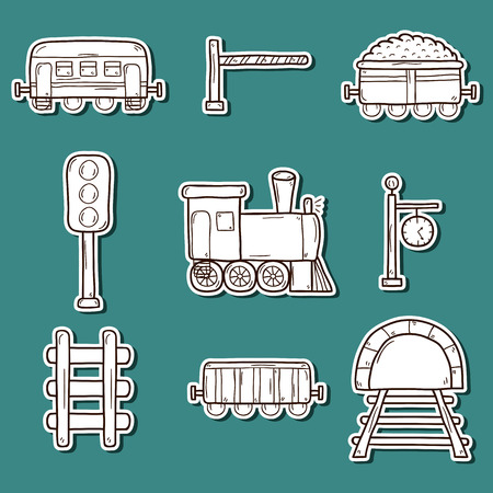 Set of hand drawn railroad stickers: wagons, semaphore, railway station clock, locomotive, barrier, tunnel. Transport shipping delivery or travel concept for your design Illustration