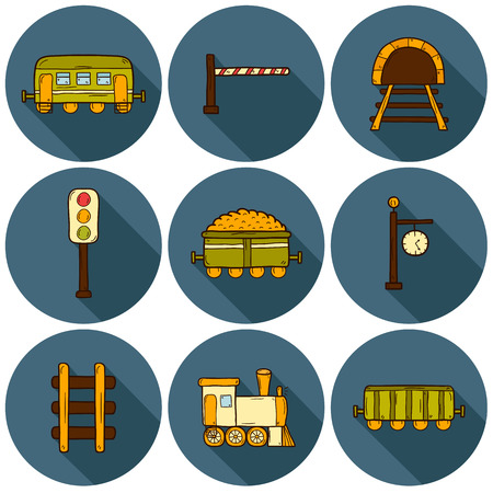 waggon: Set of hand drawn railroad icons: wagons, semaphore, railway station clock, locomotive, barrier, tunnel. Transport shipping delivery or travel concept for your design