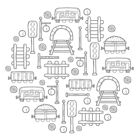 wagons: Vector background in circle shape with hand drawn railroad objects: wagons, semaphore, railway station clock, locomotive, barrier, tunnel. Transport shipping delivery or travel concept for your design