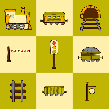 wagons: Set of hand drawn railroad icons: wagons, semaphore, railway station clock, locomotive, barrier, tunnel. Transport shipping delivery or travel concept for your design