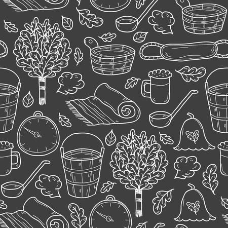 egészségügyi ellátás: Vector seamless background with cartoon hand drawn sauna objects: broom, towel, hat, wisp, beer, steam. Relaxation, health care or treatment concept for your design Illusztráció