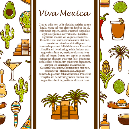 poncho: Vector travel mexican concept with hand drawn objects and background on Mexico or Latin America theme: sombrero, poncho, tequila, coctails, taco, skull, guitar, pyramid, avocado, lemon, chilli pepper, cactus, injun hat, palm for your design