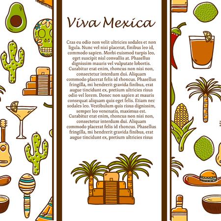 poncho: Viajes vectorial concepto mexicano con objetos dibujados a mano y el fondo en M�xico o Am�rica Latina el tema: sombrero, poncho, tequila, cocteles, tacos, cr�neo, guitarra, pir�mide, aguacate, lim�n, pimienta de chile, cactus, sombrero Injun, palma para su dise�o