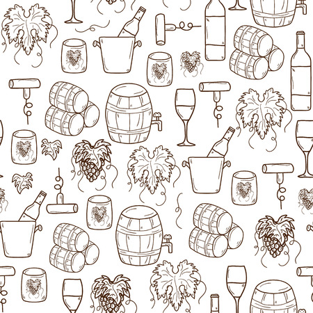 wine barrel: Vector seamless background with cartoon hand drawn wine objects in round shape: bottle, glass, barrel, grapes, corkscrew. Vineyard or restaurnt concept for your design