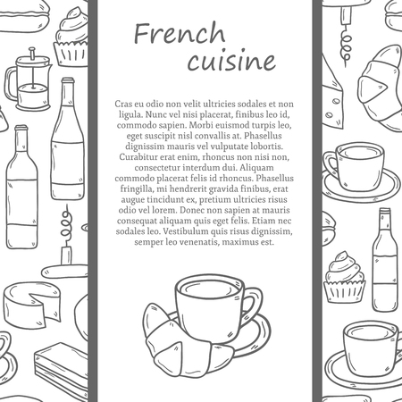 french cuisine: Vector ethnic cuisine or travel concept with cartoon hand drawn objects and seamless background on french food theme: cheese, wine, macaroon, criossant, pastry for your design