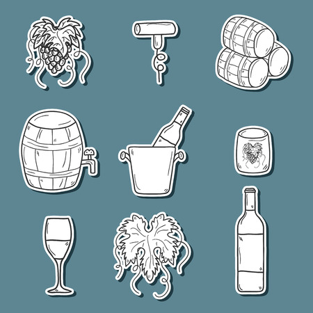 Set ofk cartoon wine stickers in hand drawn style: bottle, glass, barrel, grapes, corkscrew. Vineyard or restaurnt concept for your design Ilustração
