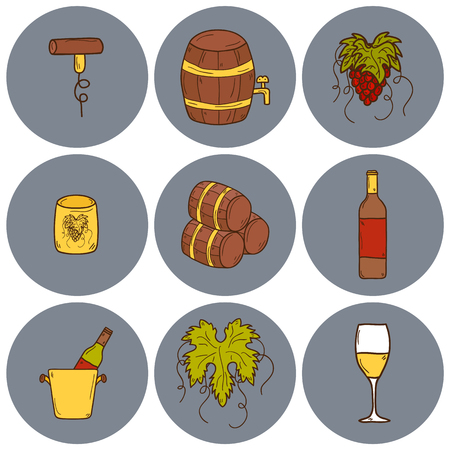 vinification: Set of cartoon wine icons in hand drawn style: bottle, glass, barrel, grapes, corkscrew. Vineyard or restaurnt concept for your design