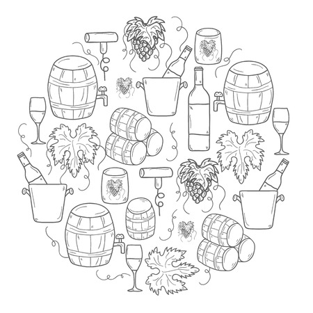 vinification: Vector background with cartoon hand drawn wine objects in round shape: bottle, glass, barrel, grapes, corkscrew. Vineyard or restaurnt concept for your design
