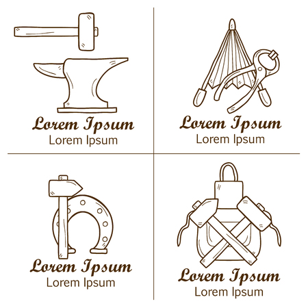 smithery: Set of cartoon badges in hand drawn style on blacksmith theme: horseshoe, sledgehammer, vise, oven for your design