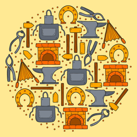 smithery: Seamless background with objects in hand drawn style on blacksmith theme: horseshoe, sledgehammer, vise, oven for your design